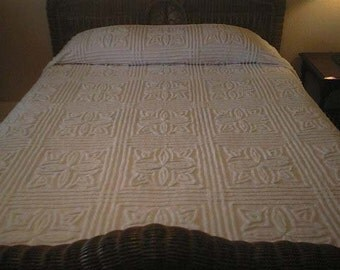 SALE - WHITE on White with STARS, Squares and Lines Vintage Chenille Bedspread - Free Shipping