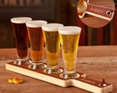 Wood Beer Tasting Set with Mini Pilsners - Personalized Groomsmen Gift, Father's Day, Bar Accessories, Graduation, Guys Gift, Birthday Gifts