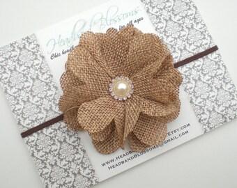 Burlap Flower Elastic Headband - Newborn Baby Girl Adult - Wedding Flower Girl - Photo Prop - Autumn Fall Thanksgiving
