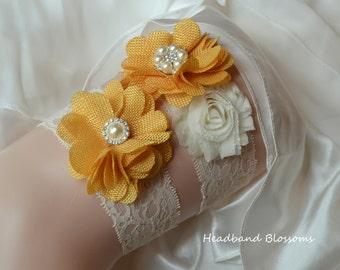 BEST SELLER - Bridal Garter Set - Keepsake & Toss Wedding Garters - Gold Yellow Burlap Chiffon Flower Lace Garters - Ivory - Autumn Rustic