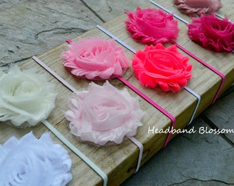 BEST SELLER - U Pick Colors - Shabby Frayed Chiffon Flower on Skinny Elastic Headband - Newborn Baby Girl- White Ivory Pink Neon Vintage