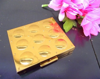 Pegi Paris Gold Art Deco Makeup Powder Compact - UNUSED - Jewelry Accessory Collectible
