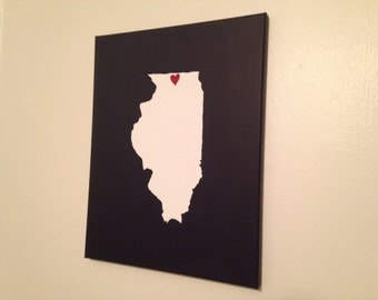 "Illinois Love Painting - 11x14"" canvas - Customized and hand painted"