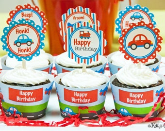 Planes, Trains, & Automobiles Birthday Party Cupcake Kit- 2 Inch Party Circles and Cupcake Wrappers, Instant Download, Printable