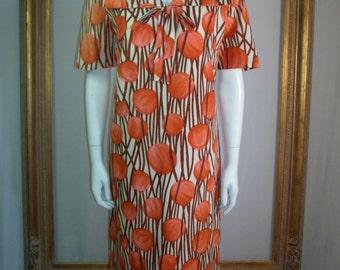 Vintage 1960's Orange Print Hostess Dress - Size 10