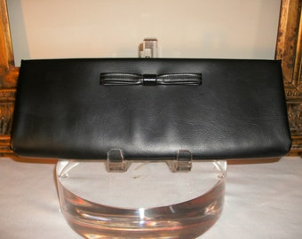 Vintage 1960's Black Vinyl Handbag with Bow