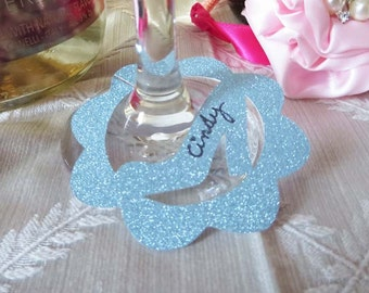 Glass Slipper Wine Glass Charm / Tags / Labels - Use at Bridal Showers, Weddings & Engagement Party - 12 Tags in your color choice