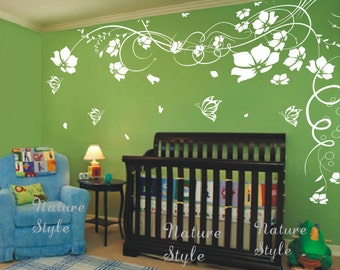 cherry blossom flower wall decals butterflies wall decals nursery wall decals office decal children wall decal-White Flower with Butterflies