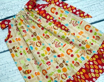 Girls Thanksgiving Pillowcase Dress Harvest Fall Leaves Turkey - Size 2 / 3, 4 / 5, 6 / 7, 8 / 9