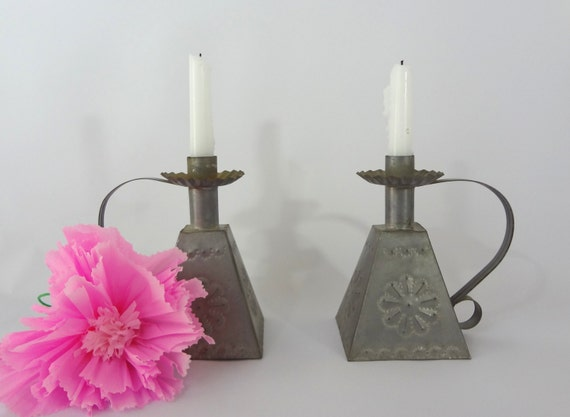 Tin candle holders punched tin weighted nice by janazjunque - Punched metal candle holder ...