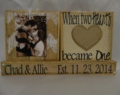 Wedding Decoration wooden blocks when two heart became one personalized gift country chic rustic pictures wedding reception gift  heart love