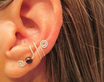 "No Piercing Sterling Silver & Garnet Cartilage Ear Cuff  ""Freedom"" Twisted Wire"