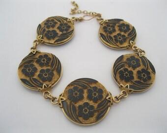 SALE/ Antique gold fill link bracelet