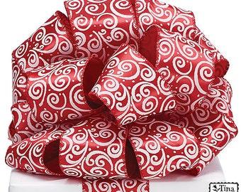 "Red & White ""Scroll Swirls"" 5YDS x 2-1/2"" Wire Wired Edge SATIN RIBBON"