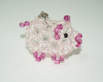 Beaded Pig, Pig Keychain, Beaded Pig Keychain, Pink Pig, Cute Piggy, Beadwork Pig, Cute Pig, Bead Pig Keychain, Bead Porker, Hog Keychain