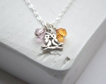 Tiny Love Bird Necklace - Sterling Silver Couples Jewelry | His and Hers Jewelry | Couples Necklace | Birthstone Jewelry | Personalized Gift