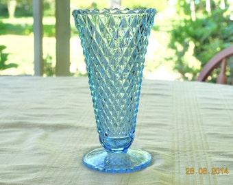 Indiana Blue Diamond Point Vase
