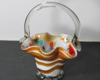 Sale - Hand Blown Art Glass multicolor swirl basket