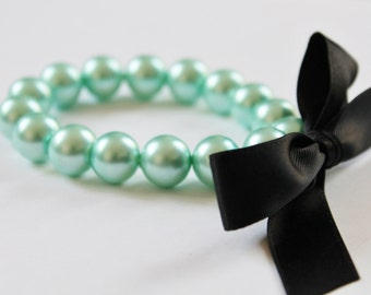 Turquoise Pearl and Black Ribbon Bracelet