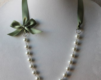 White Pearl and Sage Green Ribbon Bow Necklace