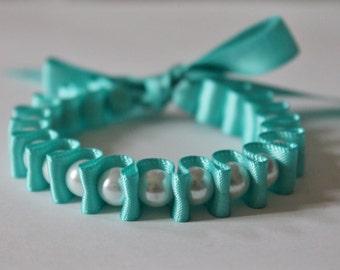 White Pearl & Robins Egg Blue Ribbon Bella Bracelet