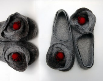 Felted slippers Women slippers Woolen clogs Valenki Women home shoes Women house shoes Handmade slippers Woolen slippers Grey slippers