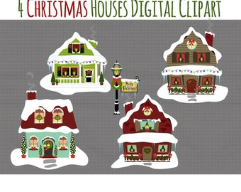 Christmas Clip Art - Snowy Houses Clipart - Holiday Graphics - Cute Holiday Houses and Light Post