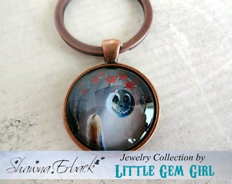 Alice in Wonderland Key Chain - Artwork by Shawna Erback Alice And The Beautiful Nightmare - Vintage Copper Keychain - Gothic Fairy Tale