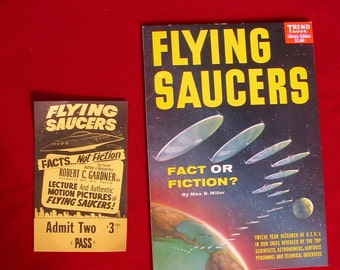 FLYING SAUCERS Fact or Fiction Sci-Fi Pulp Fiction Magazine 1958 Max B Miller
