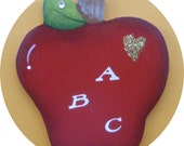 Teacher Apple Pin/Magnet ABC Red Hand Painted Wood