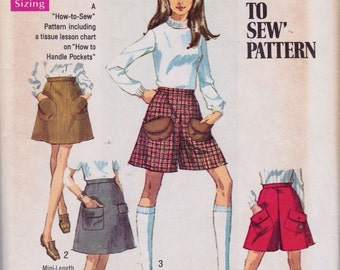 Simplicity 8418 Misses' Skirt in Two Lengths and Mini-Pantskirt Pattern, UNCUT, Size 14, Skort, 1969, Vintage, Miniskirt, Retro, Flashback