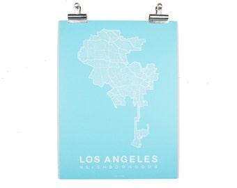 Los Angeles Neighborhood Map - White on Teal