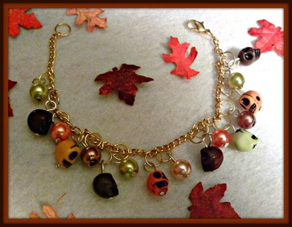Autumn Skulls And Pearls Bracelet