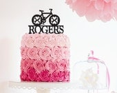Party Cake Topper - Personalized Bicycle Cake Topper - Last Name Cake Topper - Custom Colors -Peachwik- Baby Shower or Wedding- PT0021