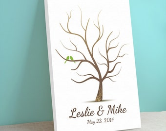 Fingerprint Tree Guest Book Canvas - Whimwik Wedding Tree - Peachwik Thumbprint Canvas - 300 guest sign in - Wedding Gallery Wrapped Canvas