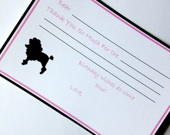 Bowling 50's Sock Hop Poodle Skirt Birthday Party Custom Thank You Card