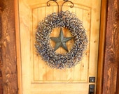 Large Wreath-Americana Wreath-Summer Wreath-Country Blue & Antique White BARN STAR Wreath-Country Chic Decor-Primitive Country-Choose Scent