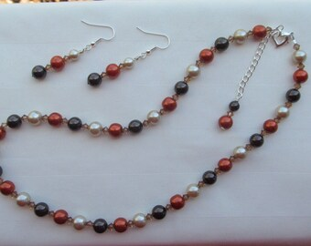 Bridesmaid Jewelry Orange & Brown Pearls and Crystals Wedding Jewelry Set