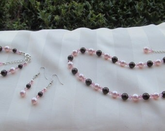 Bridesmaid Jewelry Set Swarovski Crystals and Pearls Pink and Brown Wedding Jewelry Set