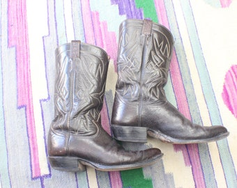 Size 10 1/2 Vintage Men's Cowboy Boots / Tony Lama Black Label Boots / Men's Shoes