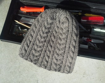 Alpaca Mens Hat Womens Beanie in Brown with Irish Aran Cables - Gray Grey Hand Knit Viking Winter Hiking Skiing (Made to Order)