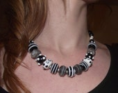 Black and White Chunky Beaded Necklace