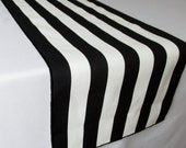 Black and White Stripe Table Runner - black edge - Select A Size