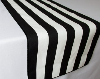 Black and White Striped Table Runner Wedding Table Runner - black edge - Select A Size