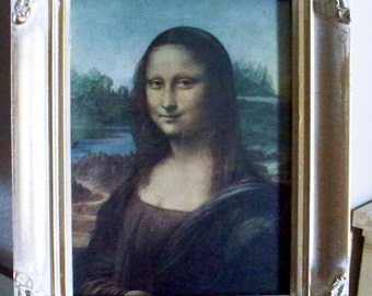 Mona Lisa Painting Print With Hollywood Regency Style Wood Frame Home Decor