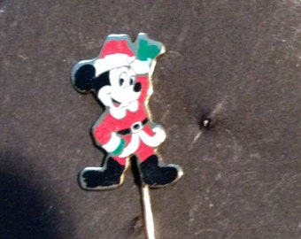 Vintage Walt Disney productions Mickey Mouse Santa Stick Pin