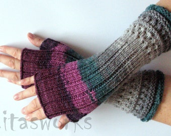 Fingerless Gloves Mittens wrist warmers 11inch Violet Purple Blue Burgundy Green Gray Dove, knit