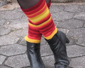 Multicolored Red Yellow Orange Striped  Leg Warmers Gaiters Handknitted