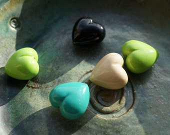 Polymer Clay Valentine Heart Beads Large Mixed Colours Green Turquoise Black Ivory