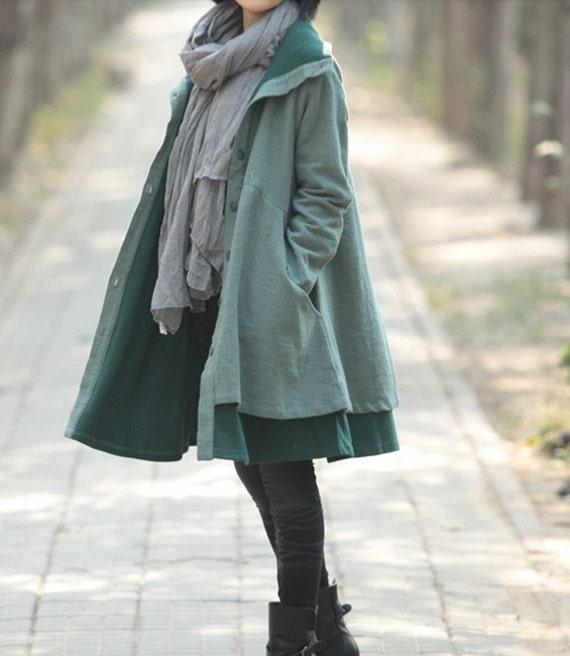 Women high collar long single breasted Windbreaker Coat